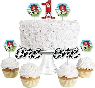1st Birthday Farm Animals - Dessert Cupcake Toppers - Barnyard First Birthday Party Clear Treat Picks - Set of 24