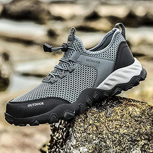 Aerlan Trailrunning Fitnessschuhe,Zapatos Anti-Hobby para Hombres, Zapatos Deportivos de Malla para Senderismo-Grey_47,Zapatos para Caminar