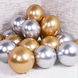 Party Balloons 12inch 50pcs Latex Metallic Chrome Balloon in Gold Silver Shiny Thicken Balloon for Wedding Graduation Birthday Baby Shower Christmas Valentine's Day Party Supplies(Gold and Silver))