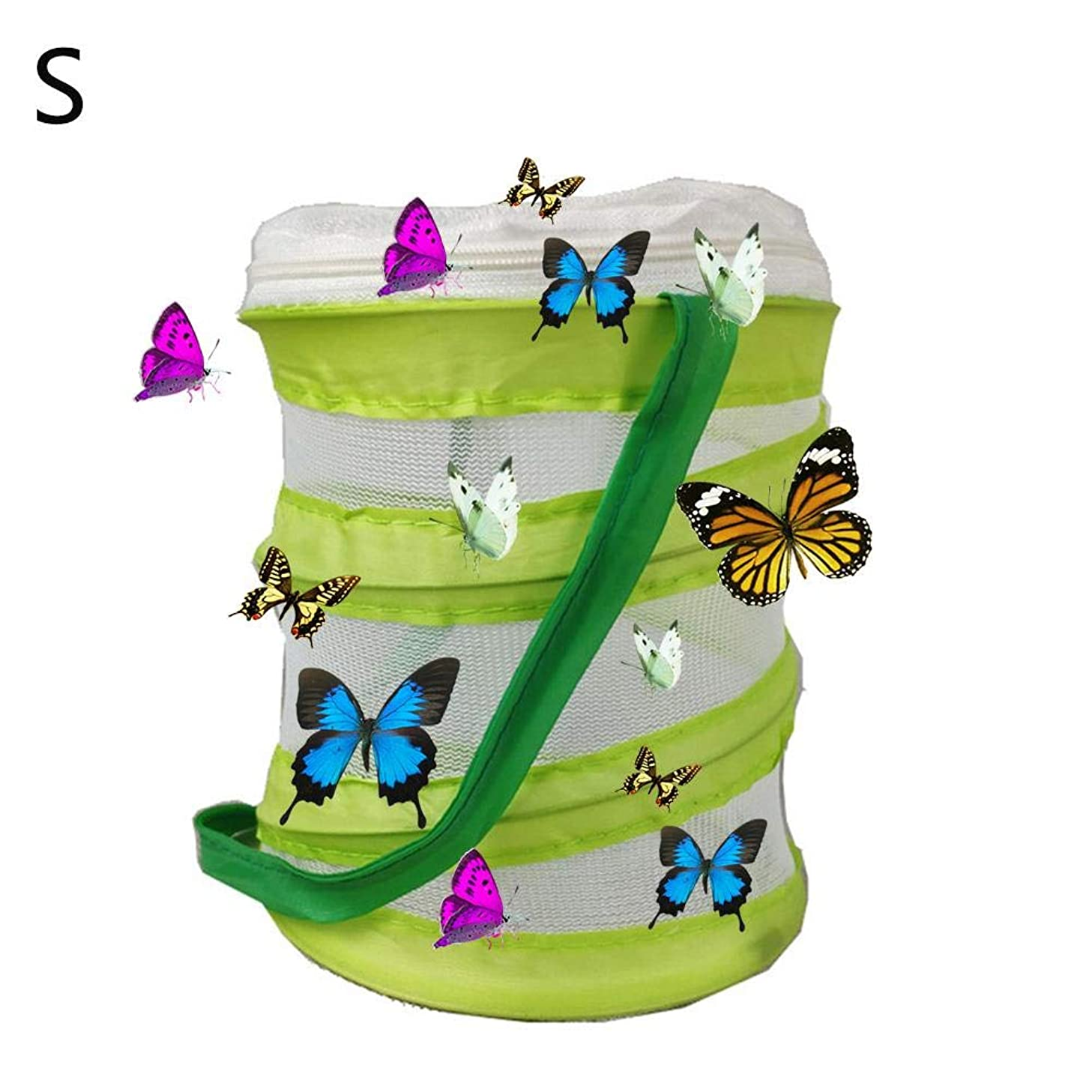 finessci Insect and Butterfly Habitat Cage,Foldable Portable Cage Terrarium Insect Breeding Net for Butterfly Locust Cricket Firefly Ladybug Spider(Green)