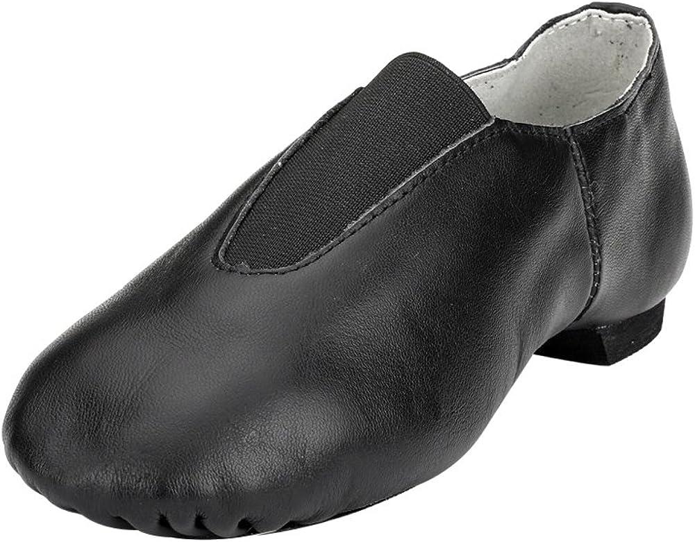 MSMAX Leather Jazz Dance Shoes Womens Slip on Practice Teaching Shoe