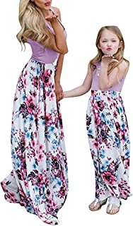 Geckatte Mommy and Me Dresses Casual Floral Family Outfits Summer Matching Maxi Dress