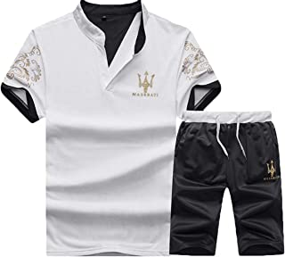 Mens 2PCS T-Shirts Shorts Tracksuit Short Set Summer Sportswear Suits