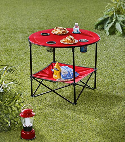Portable Folding Picnic Table with Bench Storage for Tailgating - Red
