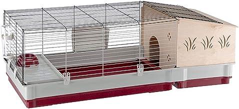 Ferplast Jaula para Conejos y Conejillos de Indias KROLIK 140 Plus, para pequeños Animales, Conejera, Casita de Madera Separable, Accesorios incluidos, 142 x 60 x h 50 cm Burdeos
