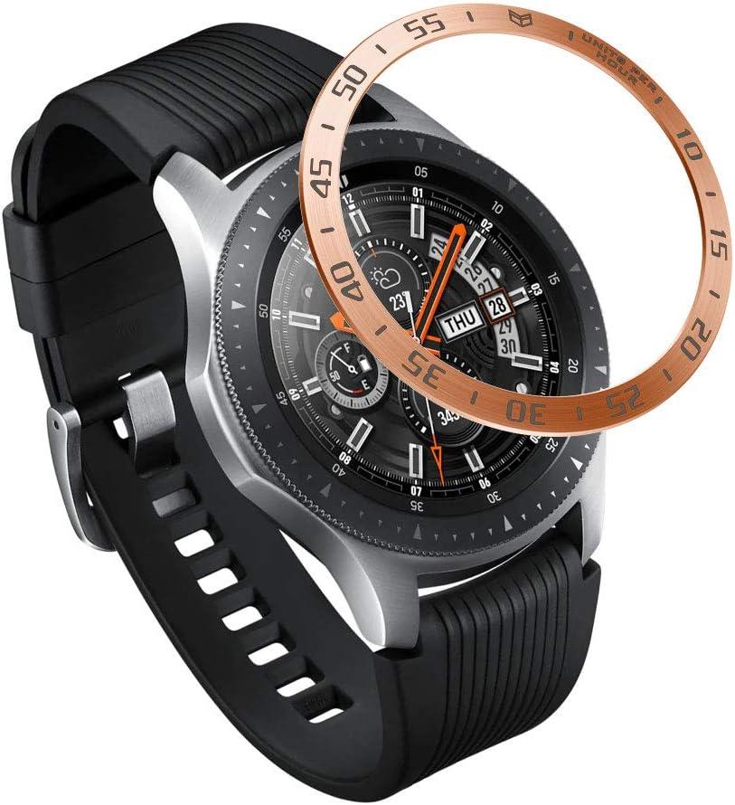 AISPORTS Diseño de Bisel Compatible con Huawei Watch GT2 Cubierta Adhesiva de Anillo de Bisel de 46mm,Protección Antiarañazos Cubierta Protectora Bisel Inoxidable para Samsung Gear S3 Frontier/Classic
