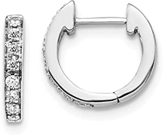 14k White Gold Diamond Hoop Earrings Ear Hoops Set Round Fine Jewelry Gifts For Women For Her