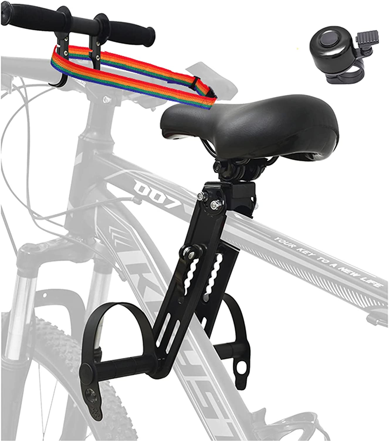 Veggicy Kids Bike Seat with Handlebar Attachment, Detachable Front Mounted Child Bicycle Seats with Foot Pedals for Children 2~5 Years(up to 48 Pound), Compatible with All Adult Mountain Bikes.