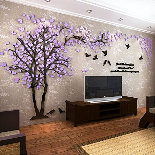 Tickos Family Tree Wall Stickers 3D Huge Acrylic Tree Wall Art DIY Wall Decals for Bedroom Nursery Living Room (Large, Purple-Left)
