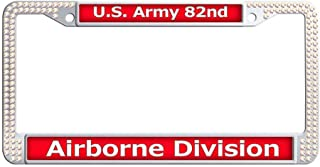 Dongsmer U.S. Army 82nd Airborne Division Sparkle Retro License Plate Frame Shining Slim Auto License Plate Frame With 2 Holes and Bolts Washer Caps,Colrful