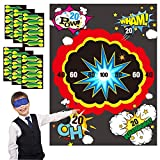 WATINC Pin the Dart on Dart Board Party Game, Pin the Dart Sticker Game for Kids Birthday, with Bomb Dart Board Poster and Dart Stickers, Super Hero Theme Wall Decoration, Super Hero Action Sign Decor