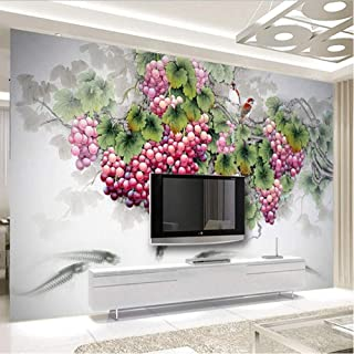 hhlwl 3D Wallpaper Chinese Style Stereo Fruit Grape Photo Wall Murals Living Room Kitchen Dining Room Self-Adhesive Waterp...