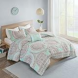 Comfort Spaces Comforter Set Ultra Soft All Season Girls Room Bedding, Full/Queen(90'x90'), Adele Aqua Medallion
