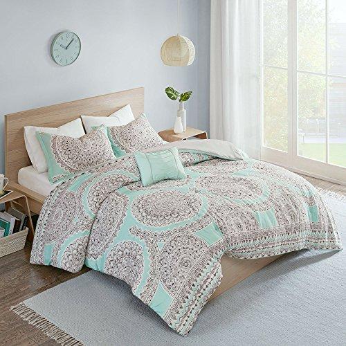 "Comfort Spaces Comforter Set Ultra Soft All Season Girls Room Bedding, Full/Queen(90""x90""), Adele Aqua Medallion"