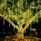 Twinkle Star Meteor Shower Rain Lights, 30cm 8 Tubes 288 LED Falling Raindrop Fairy String Light, Waterproof Plug in Icicle Lights Outdoor for Halloween Christmas Holiday Party Patio Decor, Warm White