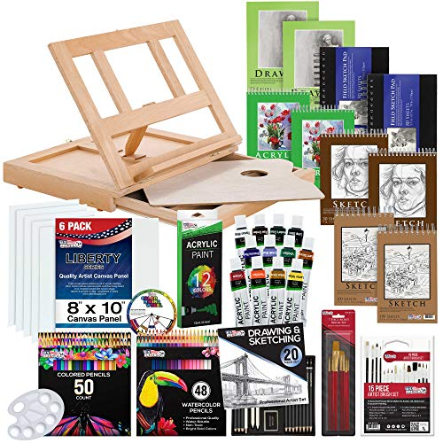US Art Supply 171-Piece Acrylic Painting & Sketch Drawing Set