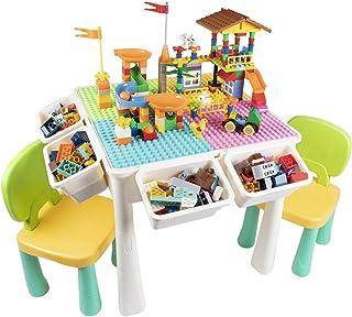 AMOSTING Table Enfant avec 2 Chaise, 7-in-1 Table de Jeux Enfant 230 Pièces Briques de Construction Table de Construction ...