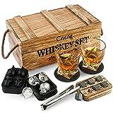 Juegos de regalo de whisky para hombres,2 vasos whisky cristal,6 piedras de whisky con caja de madera, regalos de cumpleaños, bodas, aniversario/jubilación, regalo para él y papá