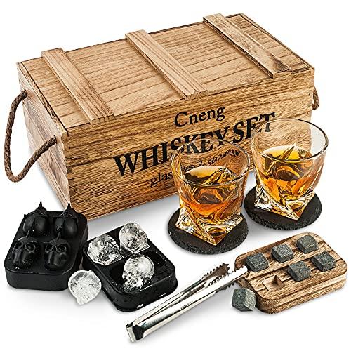 Whisky Steine Geschenkset mit Glas,Whisky Gläser Set ,Personalisiert Whiskey Geschenk für Männer, 2x 300ml Gläser,6 Whisky-Steine,Whisky Zubehör mit Holz Geschenkbox