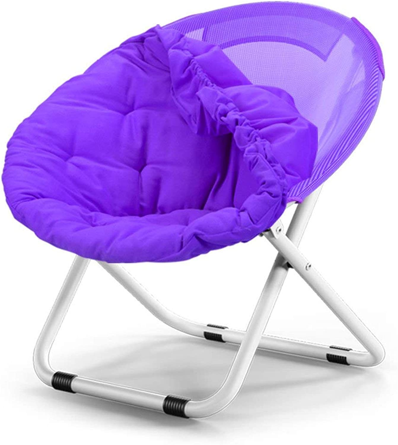 Round Moon Chair Bean Bag Chair- Leisure Camping Chair Holder Steel Frame Folding Portable for Festival Gift