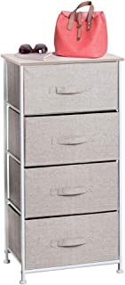mDesign Vertical Furniture Storage Tower - Sturdy Steel Frame, Wood Top, Easy Pull Fabric Bins - Organizer Unit for Bedroom, Hallway, Entryway, Closets - Textured Print - 4 Drawers - Linen/Natural