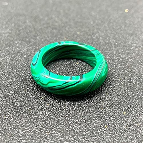SHILIU Real Natural Stone Ring For Woman Opal Tiger-Eye Malachite Agate Jewelry Gift Width 6/8Mm Inner Diameter 18Mm