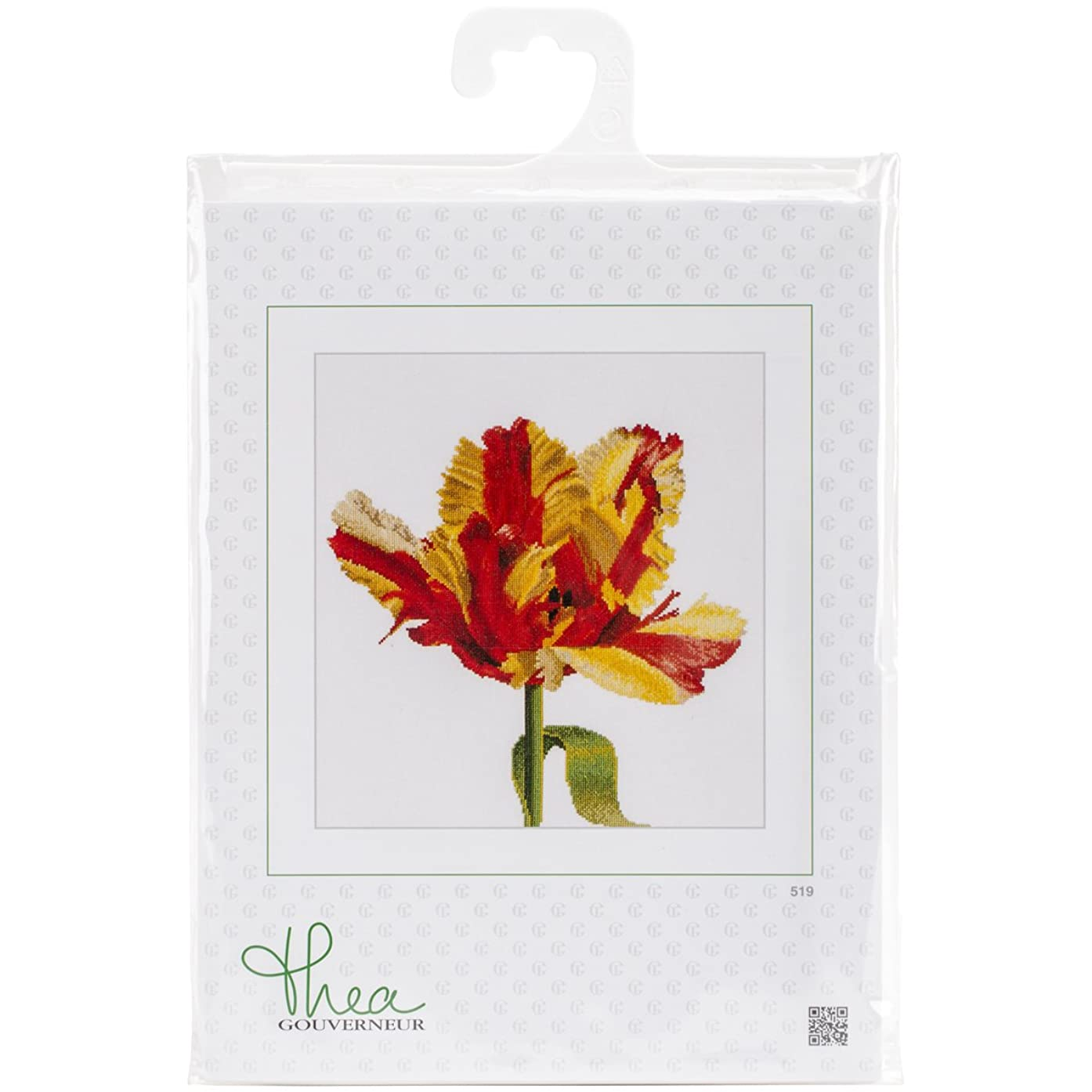Thea Gouverneur 18 Count Red/Yellow Parrot Tulip on Aida Counted Cross Stitch Kit, 13.5 x 14.25