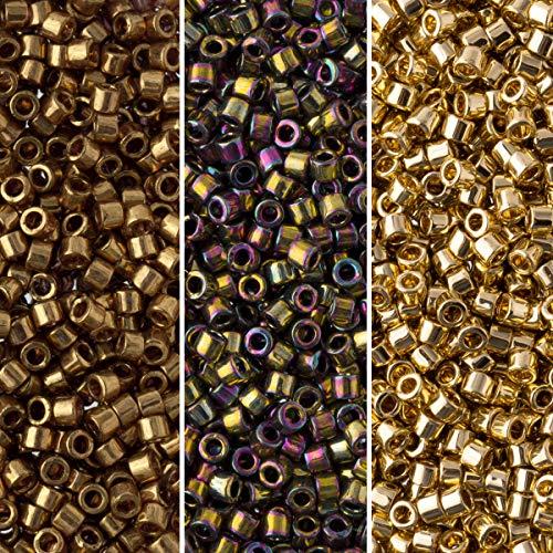 Miyuki Delica Seed Beads Bundle: Size 11/0, Palette Collection DB22L, DB23, DB34, 7.2 Grams, 3 Tubes