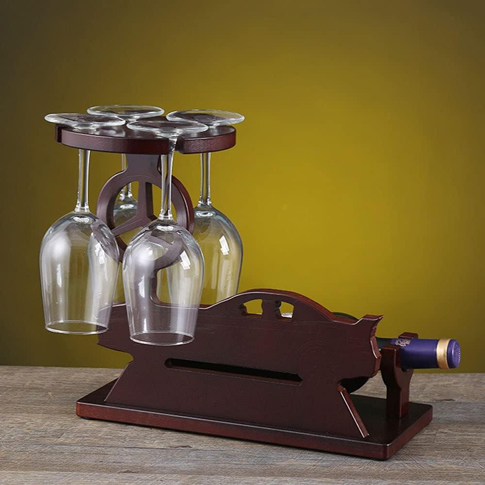 Botelleros Vino Madera Verticales Design Adornos Vinoteca para 1 Botellas con 4 Soporte de Vidrio Pequeña Estanterias Mueble Bar Salon Armarios de Vino Botelleros Vino Rojo Marrón