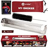 Mycritee Hexagonal Pellet Smoker Tube 12'   Premium Stainless Steel Hot and Cold Smoking   5 Hours of Smoke for all Grills or Smokers   Brush + Canvas Bag + 3 eBooks for Grilling and Smoking Included