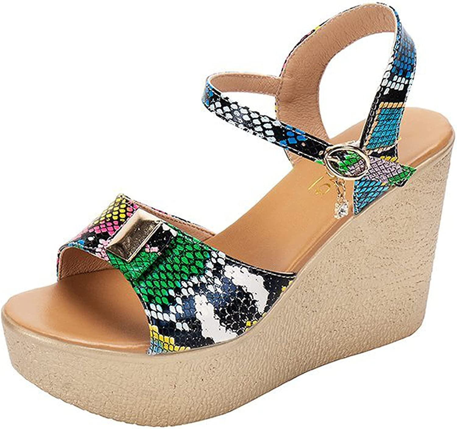 Wedge Sandals for Women Snake Print Colorblock Cutout Peep Toe Mid Heel Fashion Breathable Beach Sandals
