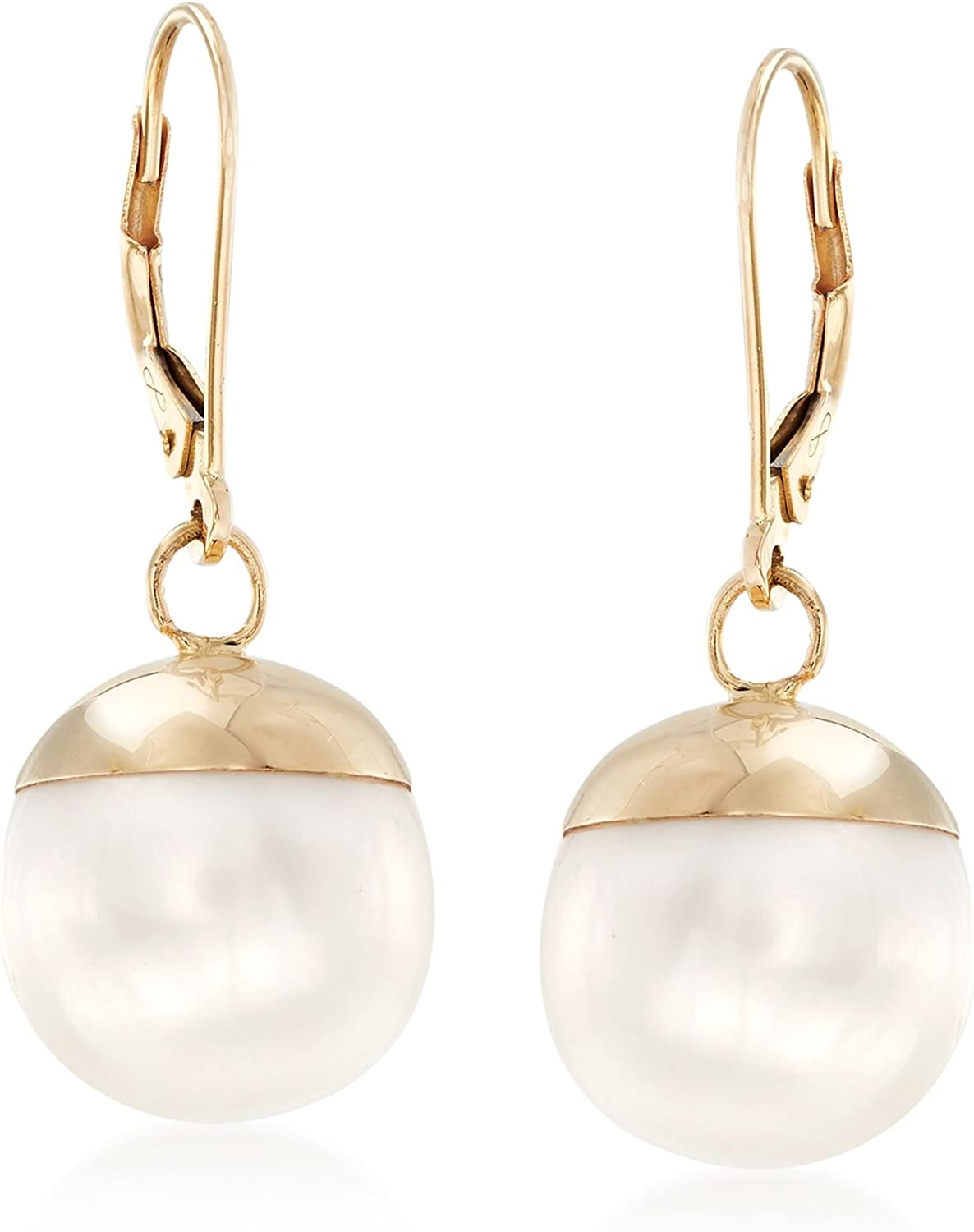 Ross-Simons 12-13mm Cultured Pearl Drop Earrings in 14kt Yellow Gold