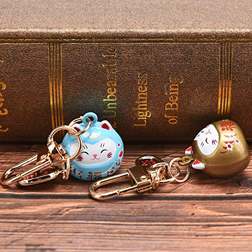 JIAOAO Schlüsselanhänger mit süßem Glückskatze-Motiv, Auto-Tasche, Dekoration, Wassergeräusch, Glockenanhänger, Anhänger – Hellblau + Gold