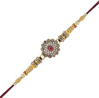 Multicolour Flower Design Rakhi Bracelet or Thread for Brother for Raksha Bandhan Handmade Colourful Silk Thread and Beads Design Rakhi Rakshabandhan Bracelet with Resin & Glass Stones in Kundan Design