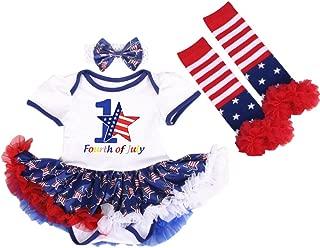 4th of July Outfits Baby Girl 2Pcs/3Pcs Set Tutu Romper Dress Up American Flag Princess One-Piece Bodysuit Headband Shoes