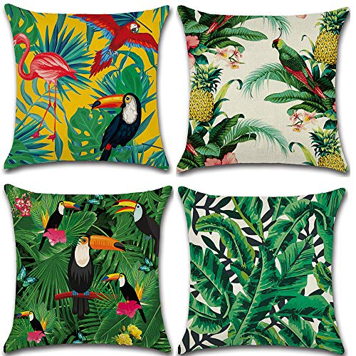 Dimmo 4Pcs tropical plant green leaf rainforest decorated square bird pillowcase flower pillow covers cotton hemp cushion set 18x18 inches.