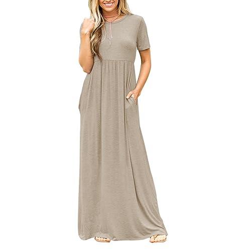 76a6505d49f4 Yobecho Women s Summer Casual Loose Swing Maxi Dress Pockets