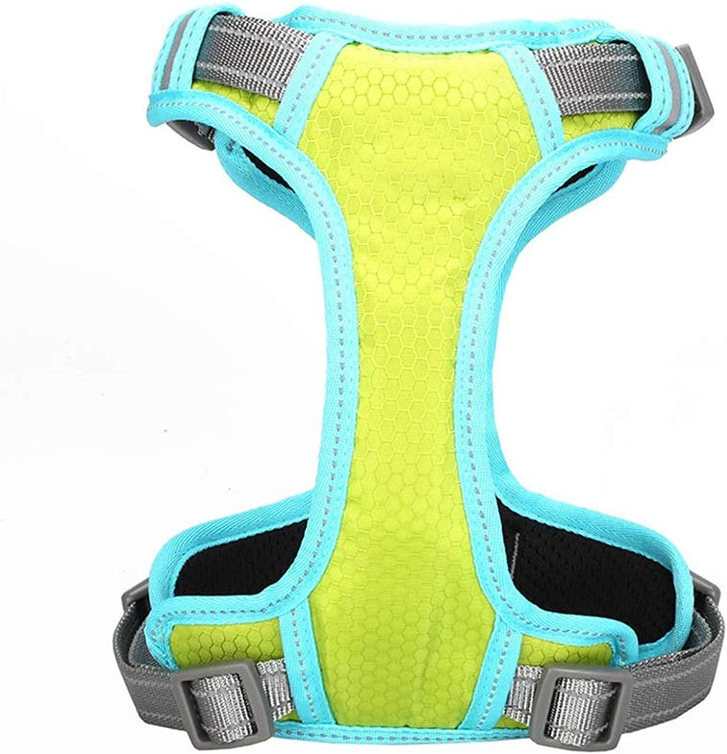 Dog Vest Harness, Chest Strap golden Hair Teddy For Small Medium Large Leash Collars Training Safety Buffer Reflective Adjustable Rope Pet Cat Harness (color   GREEN, Size   L(6475cm))