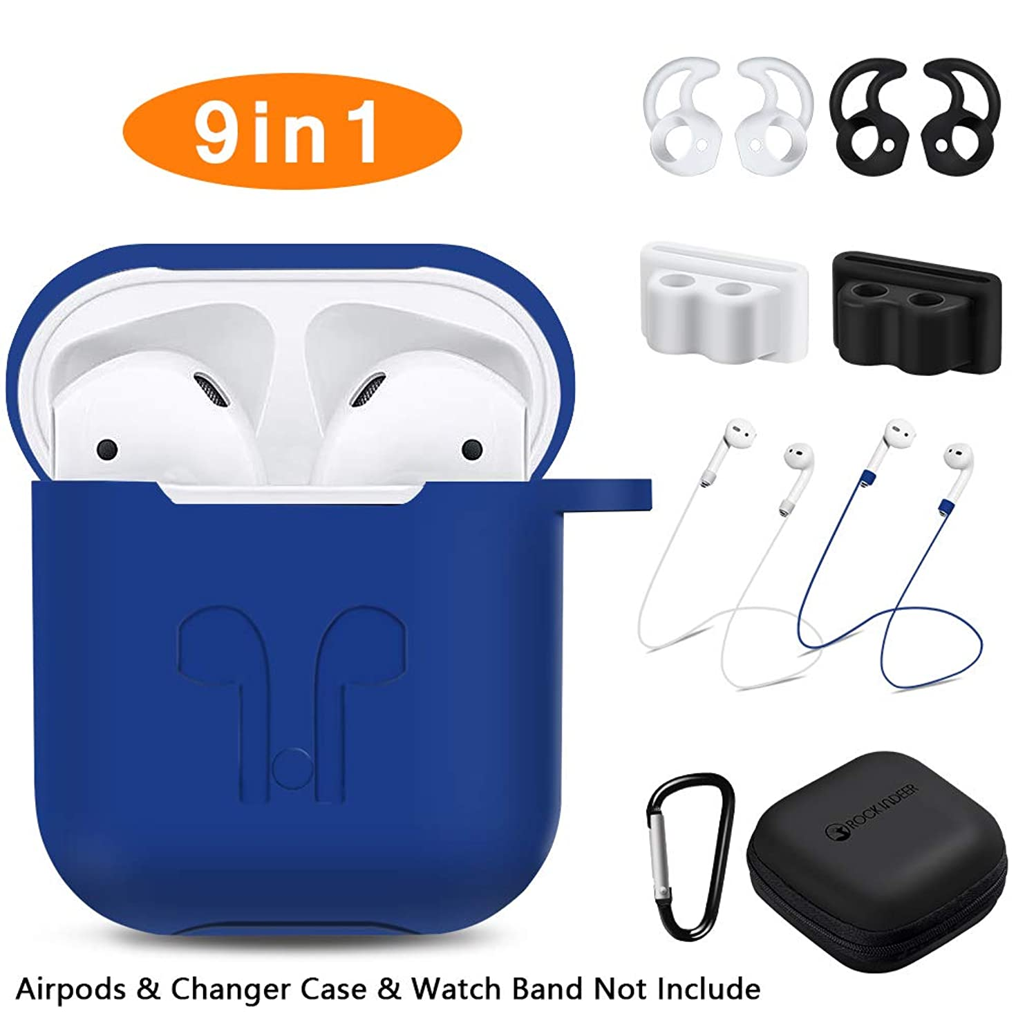 AirPods Case, Rockindeer 9 in 1 AirPods Accessories Set Protective Silicone Cover Skin Compatible Apple AirPods Charging Case with Watch Band Holder/Ear Hook/Keychain/Strap/Carrying Box (Navy Blue)