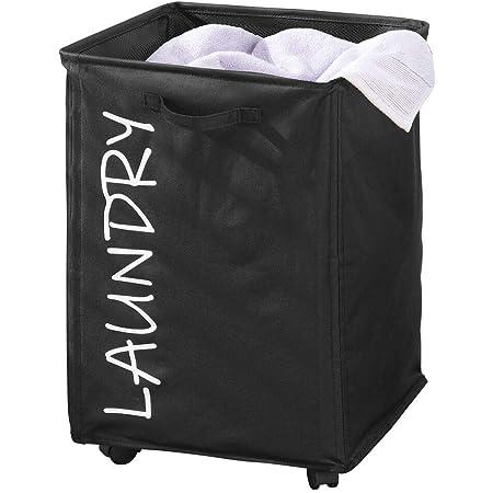 """mDesign panier à linge pliable en polyester – sac pour lessive à roulettes – élégant trieur de linge sale avec cordon de serrage et imprimé""""laundry"""" – noir et blanc"""