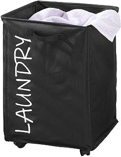 mDesign panier à linge pliable en polyester – sac pour lessive à roulettes – élégant trieur de linge sale avec cordon de s...
