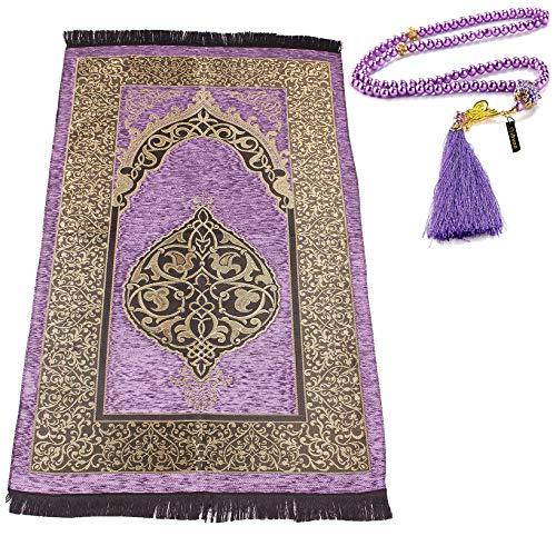 Muslim Prayer Rug with Prayer Beads   Janamaz   Sajjadah   Soft Islamic Prayer Rug   Islamic Gifts   Prayer Carpet Mat, Chenille Fabric, Lilac