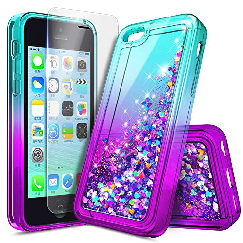 iPhone 5C Case with Screen Protector HD Clear for Girls Kids Women, NageBee Glitter Liquid Quicksand Waterfall Floating Flowing Sparkle Shiny Bling Diamond Cute Case for iPhone 5C -Aqua/Purple