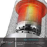 KESSER® Heizstrahler Gas KE12 Heizpilz für Terrasse Terrassenheizer Terrassenheizstrahler, Freiluftheizung 12,5 kW Gasheizstrahler gasheizer, Wärmestrahler, Heizgerät - inkl. Schutzhülle, Edelstahl - 3