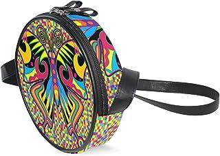 Coosun Umhängetasche für Kinder und Damen mit Schmetterlingen im Hippie-Stil, rund, Schultertasche