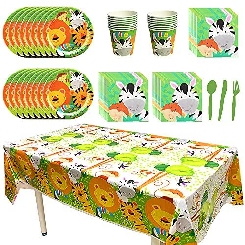 AODOOR Juego de accesorios para fiestas, 113 piezas, diseño de animales de jungla, león, cebra, vajilla de fiesta para niños, vajilla de fiesta de cumpleaños, vajilla desechable, vajilla de fiesta