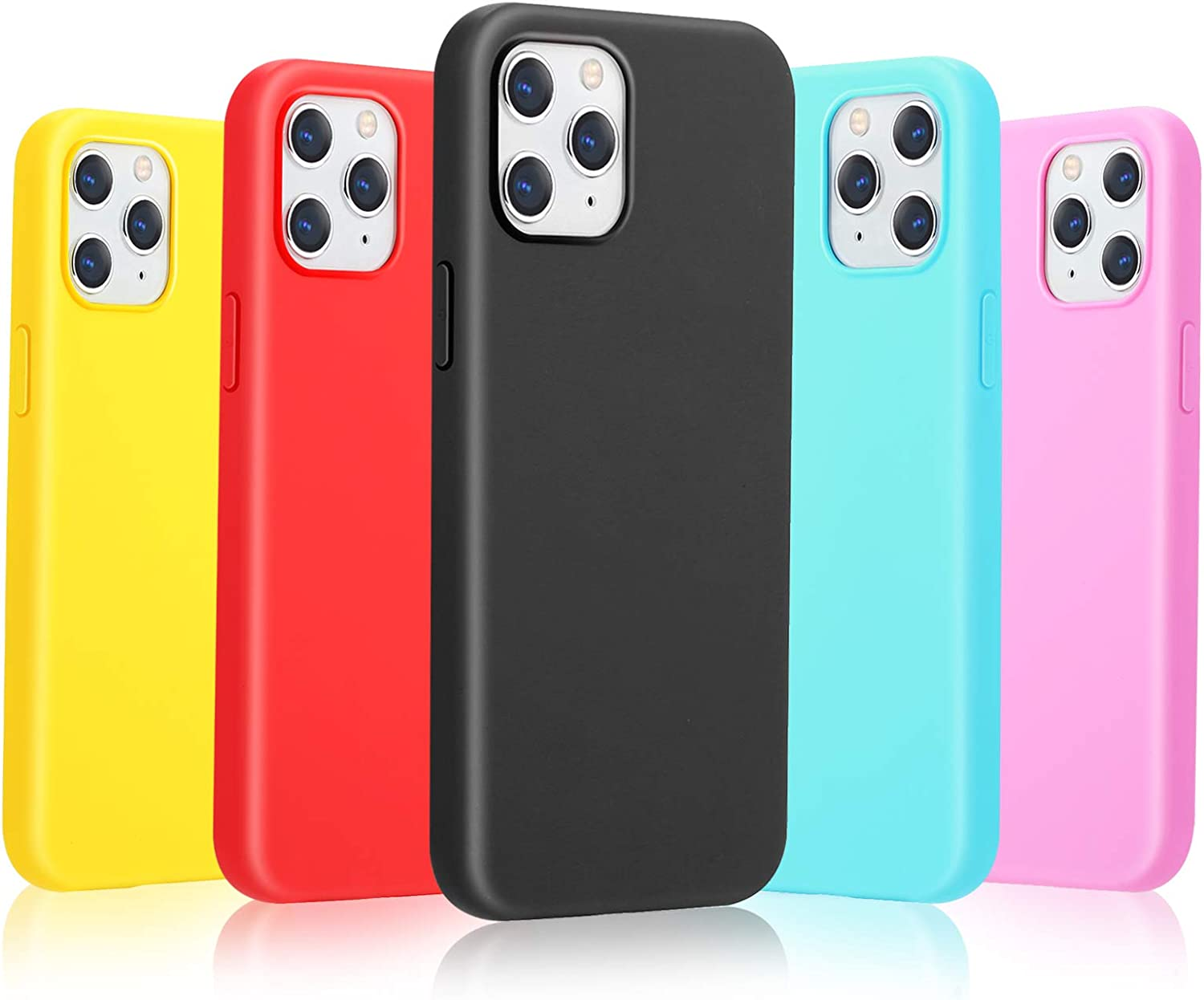 Pofesun Compatible with iPhone 12 Pro Max 6.7'' 2020, Silicone Soft Gel Rubber Full Body Protection Shockproof Phone Case Cover for iPhone 12 Pro Max (Black,Red,Rose,Yellow,Blue)
