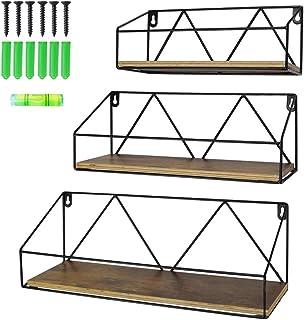 UMI. by Amazon Estantes de Pared flotantes rústicos Set de 3 estantes de Madera rústicos para el baño el salón o la Cocina