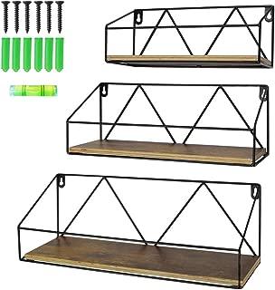 Edenseelake Floating Wall Shelves Set of 3, Wood Shelf Wall Mounted for Bedroom, Bathroom, Living Room, Kitchen and Office