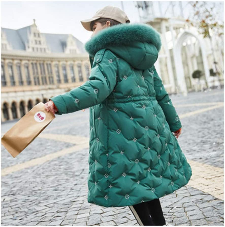 Down Jacket Baby Girl Down Jacket Coat Winter Warm Hooded Down Kids Outerwear Mid-Length Thick White Duck Down Jacket Down Jacket Gift (Color : Green, Size : 130)